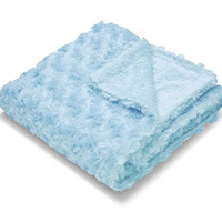 "Little Starter Embossed Micromink Reverse to Faux Fur Rosette Baby Blanket, 30"" x 40"", Blue"