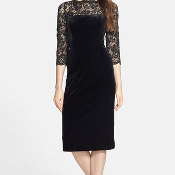 Women's Eliza J Lace & Velvet Sheath Dress
