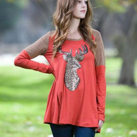 Christmas Deer Sequins Color Block T-Shirt B0014154