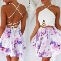 Purple Floral Cross-Back Dress