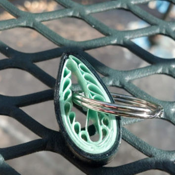Paper Quilled Keychain Leaf - Shades of Green - quilling paper accessories, quilled accessories, eco friendly, paper keychain, gift idea