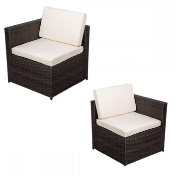 2 PCS Outdoor Patio Sofa Set Sectional Furniture PE Wicker Rattan Deck Couch F10