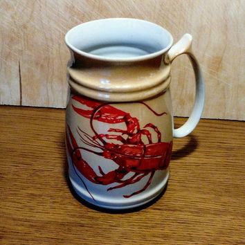 Vintage Mug for Beer with Crayfish Kitchen Decor Kitchenware Soviet Russian