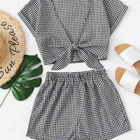 Tie Front Gingham Top With Shorts