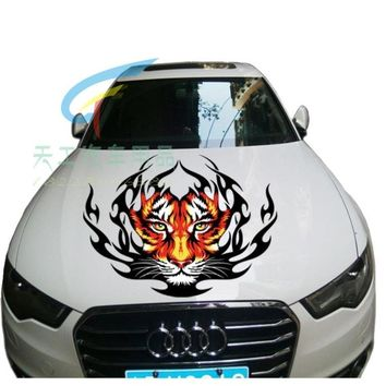 The tiger head machine cover decoration sticker The tiger totem hood modified stickers Auto backup tires stick a garland-55