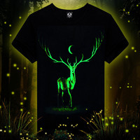 Men's Fashion Noctilucent Men Short Sleeve T-shirts Animal Innovative Bottoming Shirt [11564611919]