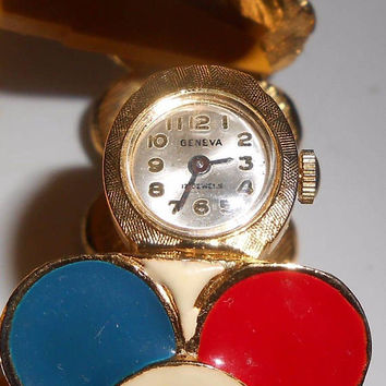 1970's Geneva Hidden Watch Ladies Enamel Bangle Bracelet 17 Jewels