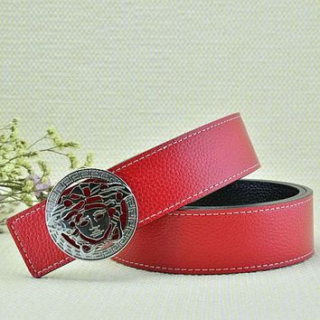 Versace Fashion Smooth Buckle Belt Leather Belt