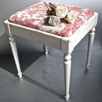 French Country Bench Vintage Toile Bench Red and White by Swede13