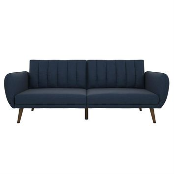 Modern Navy Blue Linen Upholstered Sofa Bed Futon with Mid-Century Style Wood Legs