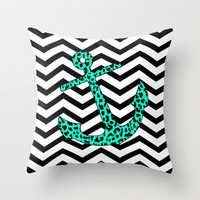 Mint Leopard Anchor Throw Pillow by M Studio