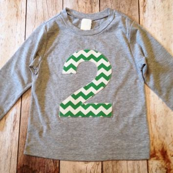 Kelly Green Chevron Birthday Shirt Long Sleeve heather grey Biggie Chevron Number or Any Birthday 1 2 3 4 5 6 7 8 9 cotton 2nd two boys girl