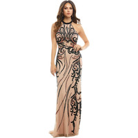 Mac Duggal Womens Mesh Inset Prom Formal Dress