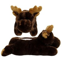 Wishpets Adult Size Medium Brown Moose Animal Soft Plush Fuzzy Furry Slippers - Walmart.com