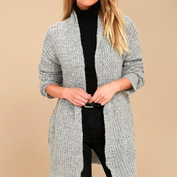 Turning Leaves Grey Knit Cardigan Sweater
