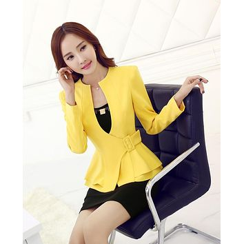 Novelty Yellow Uniform Style 2015 Spring Autumn Professional Business Women Blazers Jackets Female Work Wear Coat Tops Clothes