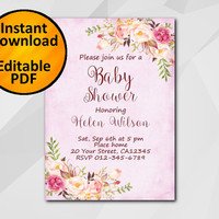 Editable Baby Shower Invitation, Watercolor Pink Invitation, Instant Download diy, etsy Baby Shower invitation XB320f-1