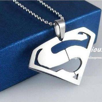 CREYUG3 Superman Pendants Necklaces For Men And Women,High Quality 316L Stainless Steel Jewelry, (Color: Silver) = 1946858116
