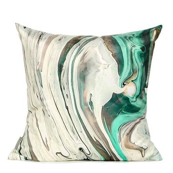 "White Green Abstract Oil Painting Digital Printing Flannel Pillow 18""X18"""