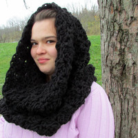 Black Chunky Cowl, Hooded Cowl, Snood, Oversized Cowl, Circle Scarf, Bulky Cowl, Crochet Wrap