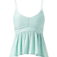 Mint Green Strappy V Neck Peplum Top