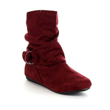 Women's Faux Suede Fashion Knot Mid Calf Flat Heel Slip On Side Zipper Slouch Boots