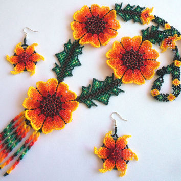 Huichol Beaded Flower Necklace and Earring set