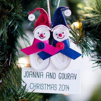 Personalized Ornament - Snow Couple Ornament - Snowman ornament - Paper Ornament - Custom Ornament