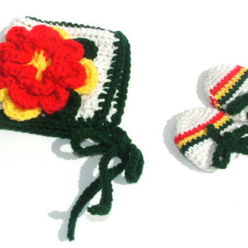 Rasta Newborn to 3 Month old 2 Piece Set for Baby Girls, Bonnet White with Green Border and Red and Yellow Flower, Baby Mittens match Bonnet
