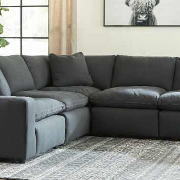 31104-64-77-46-2-65 5 pc Lotus savesto charcoal linen like fabric feather blend modular sectional sofa
