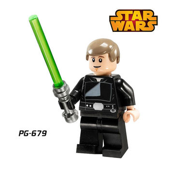 1PC Luke Skywalker with Lightsaber Star Wars Jedi Knight diy figures Building Blocks Action Figures Education Learning Kids Toys
