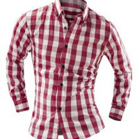 Plaid Print Long Sleeves Button-Down Shirt