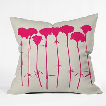 Garima Dhawan Carnations Pink Throw Pillow