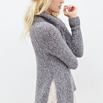 FOREVER 21 Heathered Turtleneck Sweater Heather Grey/Cream