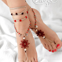 Boho barefoot sandal, Crochet hippie shoes, yoga, bellydance, gypsy sandals