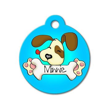 Blue Cute Puppy Licking Bone - Cute Pet Tag