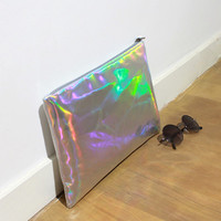 Women's Holographic Bag Pouch/ Holographic Clutch Pouch Leather bag /Leather clutch / Messenger Bag / ipad mini bag ipad mini sleeve