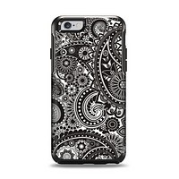 The Black & White Pasiley Pattern Apple iPhone 6 Otterbox Symmetry Case Skin Set