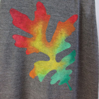 Oak Leaf - Racerback Hand Stenciled Slouchy Scoop Neck Swing Tank Top in Brown Fresh Autumn Rainbow - Women's XS S M L