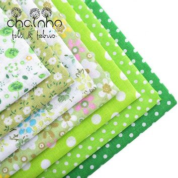 Thin Cotton Fabric Patchwork For Sewing Scrapbook Cloth Fat Quarters Tissue For Quilt Needlework Pattern 50*50cm Green 7pcs