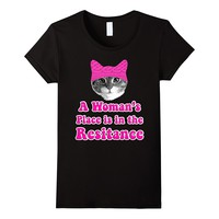 A Woman's Place Is In The Resistance Cat Pink Beanie Hat Tee