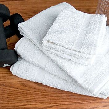 New White 20X40 100% Cotton Multipurpose use Economy Hair Towels Salon/Gym Towels 4lb/dz