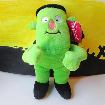 Plush Frankenstein Monster Doll Toy Vintage Stuffed Halloween Green Frankenstein Softouch New Unused Furry Holiday Home Decor Kids Children