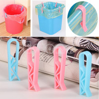 F85 2Pcs Trash Bag Fixed Clip Waste Basket Rubbish Bin Garbage Can Clamp Holder New
