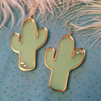 Frosted Green and Gold Acrylic Cactus Earrings