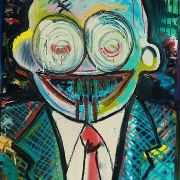 Original Abstract Figure Painting 30x40 Colorful Pop Art Painting Original Oil Painting Canvas Painting Jean Michel Basquiat Dustheads