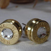 Bullet Earrings. April Birthstone. Diamond . 9mm Luger.  FREE SHIPPING