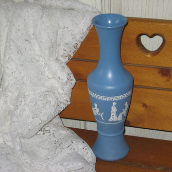 GRECIAN STYLE VASE Fancy Blue and White  Jasperware Tall  11 inches tall