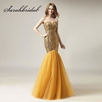 Gold Long Mermaid Evening Dresses 2018 New Sweetheart Sequins Tulle with Lace up Back Party Prom Gowns Real Photo SD415