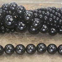 quality black onyx smooth round beads - natural onyx gemsotne beads - authentic black stone beads - smooth round onyx beads - 3-20mm -15inch